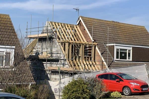 Exterior view of extension work in progress